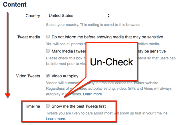 uncheck the timeline preference
