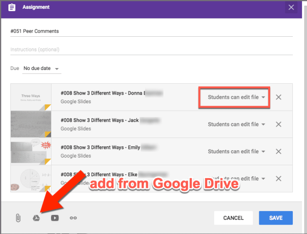 Peer comments in Google Classroom add from Google Drive