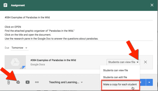 Make a copy for each student in Google Classroom