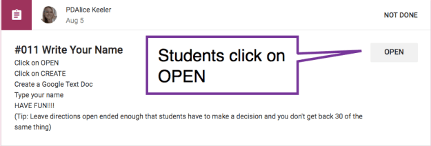 students click on OPEN button