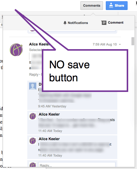 No Sae button in Google Docs