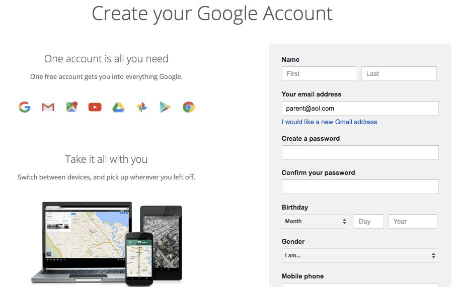 create a google account no gmail Google Classroom Google Account