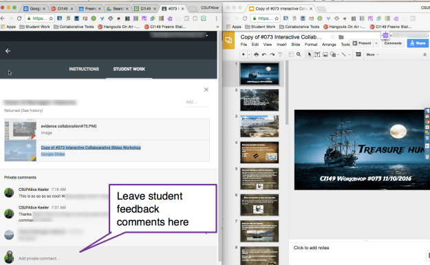 leave student feedback comments in google classroom
