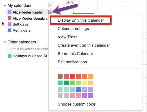 click on tiny arrow and display only this calendar
