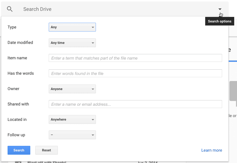 filter your google drive search
