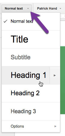 headings in the google doc toolbar