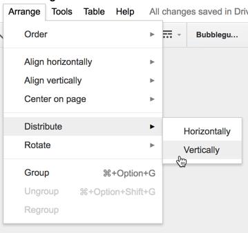 arrange distribute vertically