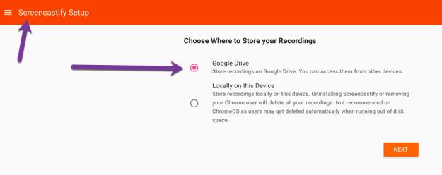 Screencastify save to Google Drive