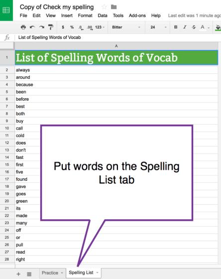 Put Words on the Spelling List Tab