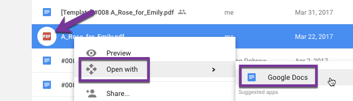 "right click on PDF and choose ""Open with"" and choose ""Google Docs"""