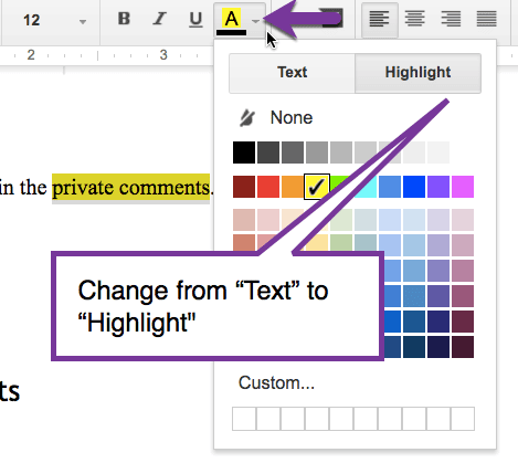 Change from text to highlight