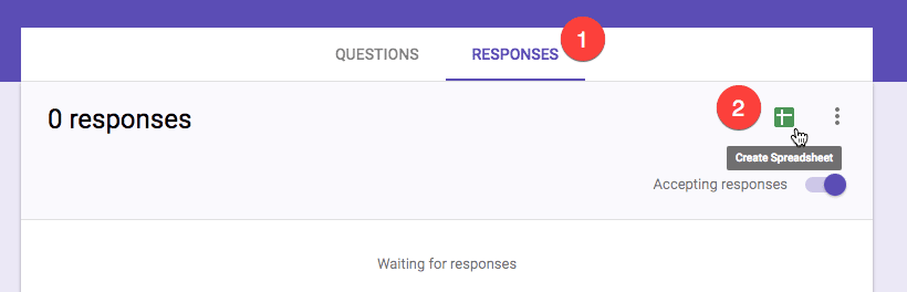Click on responses and create spreadsheet