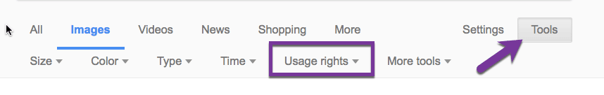 Google Images Usage Rights tools