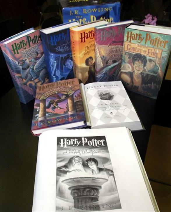 The seven-book set of Harry Potter books autographed by author J.K. Rowling are seen at the National Braille Press in Boston, Wednesday, Oct. 3, 2007. Rowling rarely signs books and the copies are being auctioned as part of the nonprofit's annual fundraiser.(AP Photo/Bizuayehu Tesfaye)