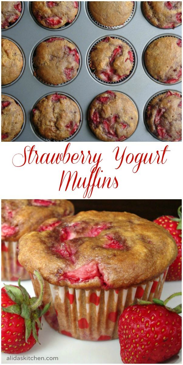 Strawberry Yogurt Muffins | alidaskitchen.com