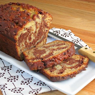 healthy buttermilk chocolate banana swirl bread