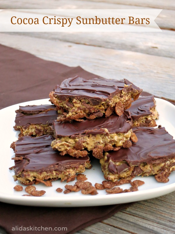 Cocoa Crispy Sunbutter Bars {Alida's Kitchen}