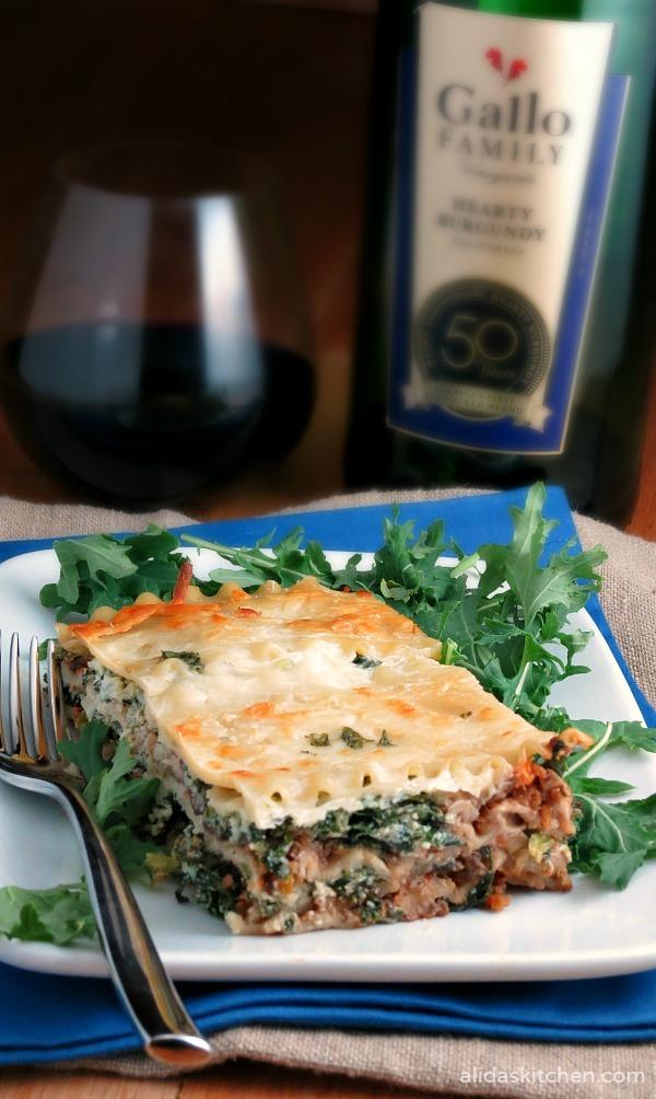 Mushroom Bolognese Kale Lasagna | alidaskitchen.com #SundaySupper