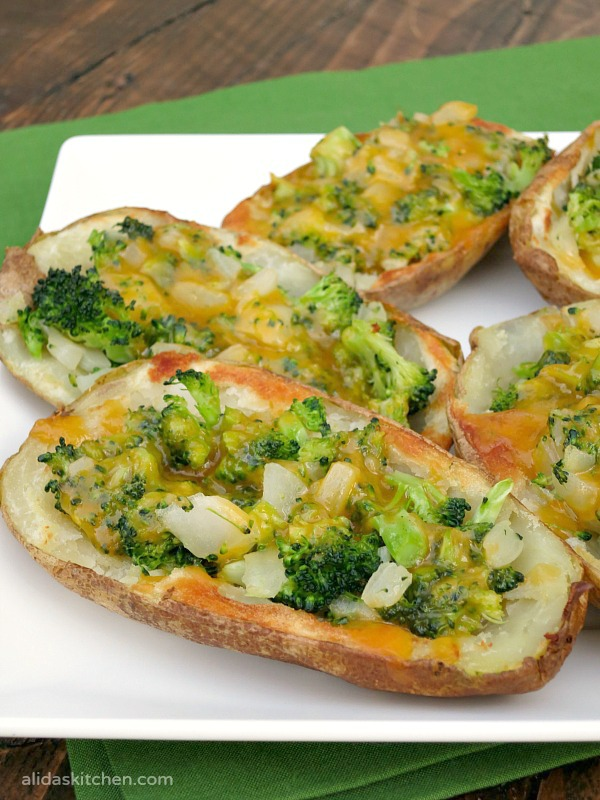 Broccoli Cheddar Stuffed Potato Skins | alidaskitchen.com