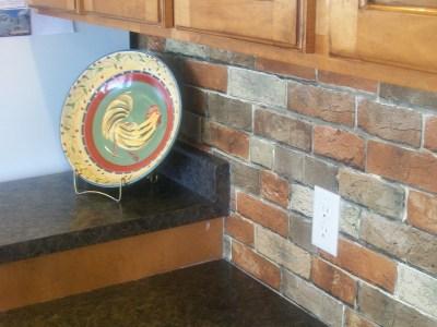 faux brick backsplash – Dime and a Prayer