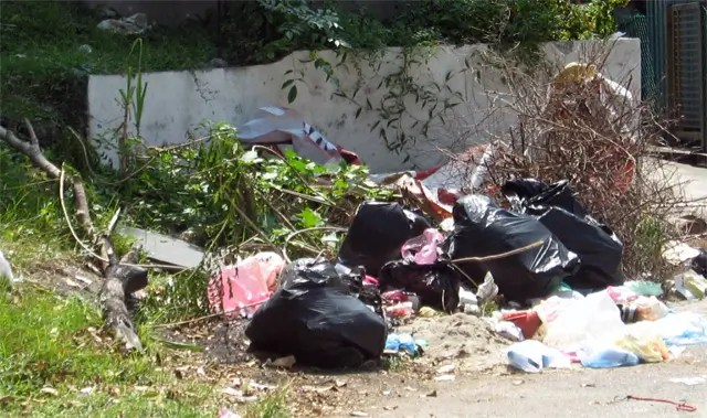 No rubbish bin here, but residents have created a dump, by dumping rubbish illegally on the road - Photograph: Jiran
