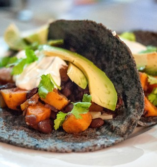Sweet potato, black bean taco