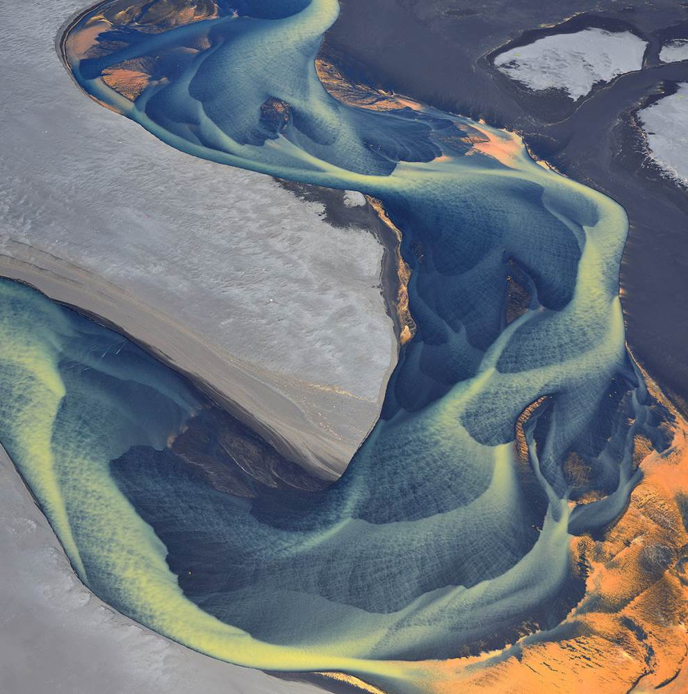 Astounding Aerial Photography Glacial River In Iceland