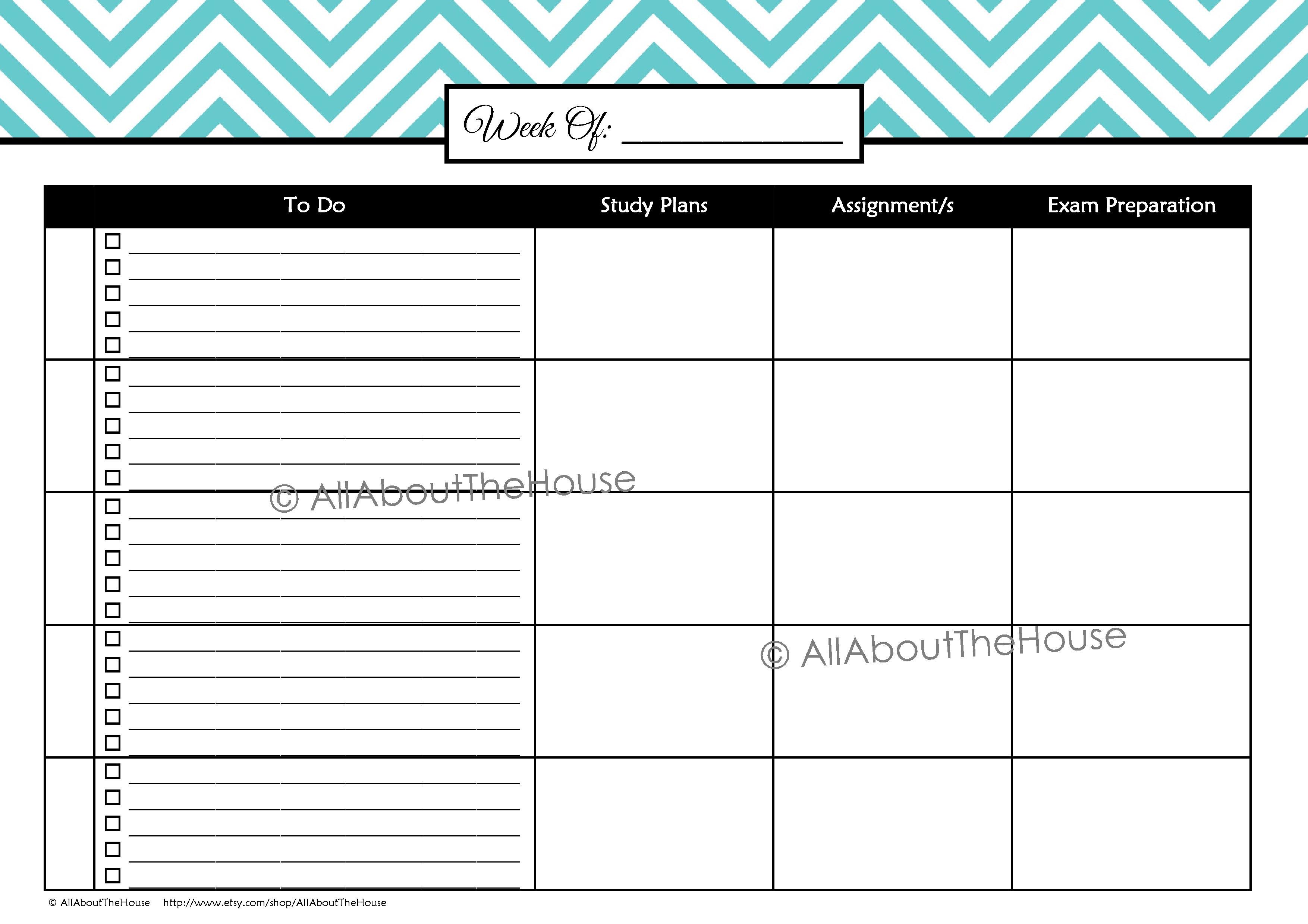 weekly printable schedule