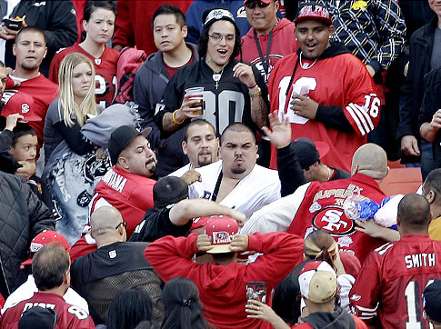 San Francisco Wins Battle Of The Bay. Raiders, And Niner Fans Finish Without Class In Brawl Melee, That Ended With Gun Shots. (3/3)