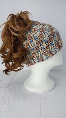 "Crochet ""Messy Bun"" hat"