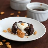 Molten Chocolate Peanut Butter Cake - Low Carb and Gluten-Free