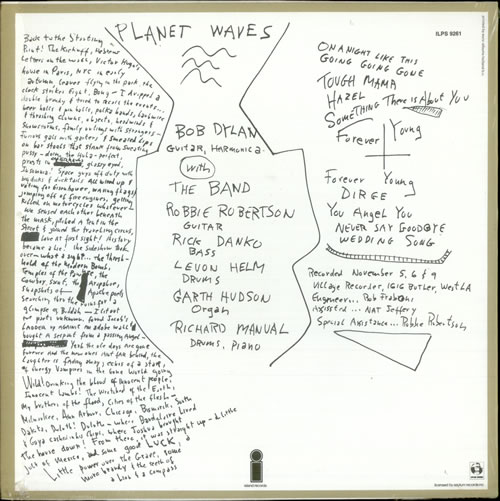 Bob Dylan planet waves insert