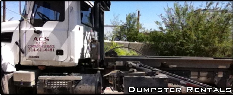 Dumpster truck branded by Allen Container Service