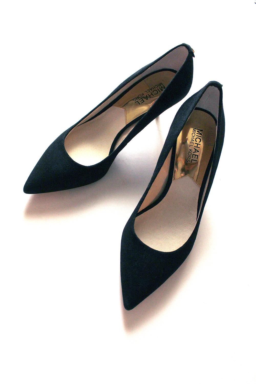 Black Suede Kitten Heel Shoes