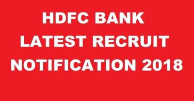 HDFC Bank Latest Recruitment 2018 Jobs – Apply Online @ www.hdfcbank.com
