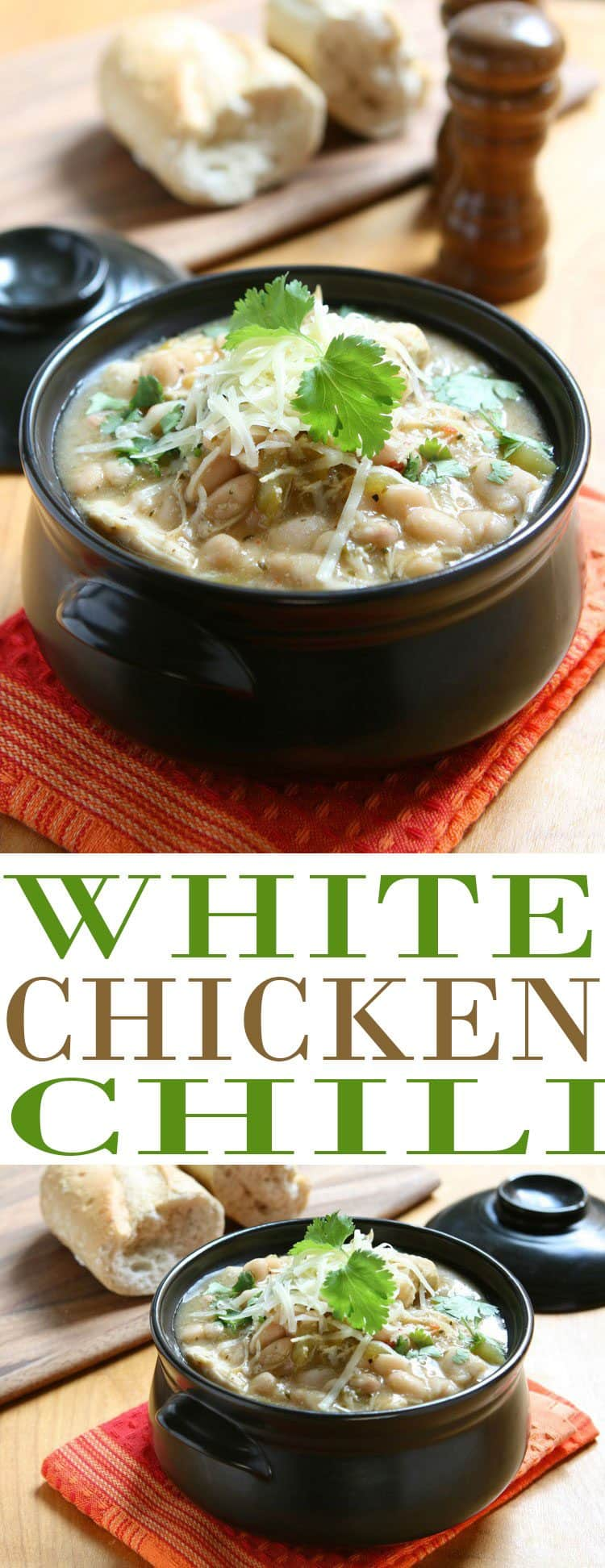 White Chicken Chili recipe is one of the best fall soup recipes (and chili recipes) we have. This flavorful white bean and chicken chili is so hearty. It is also the perfect way to use up Thanksgiving turkey leftovers. Substitute turkey for chicken and make this a budget friendly after Thanksgiving recipe. Great way to use up leftovers!