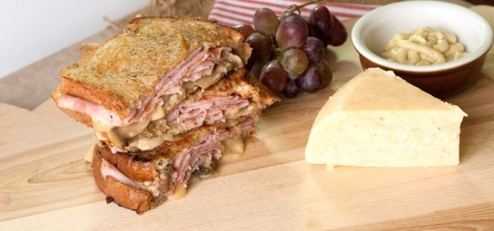 thick grilled cheese with ham