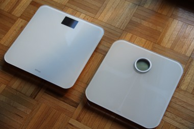 From left to right: The Withings WS-30 and the FitBit Aria Smart Scale.