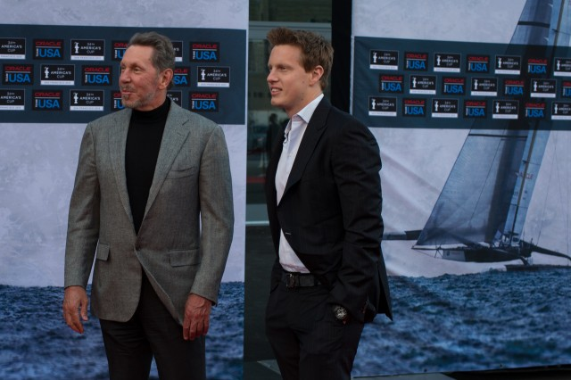 "Larry and David Ellison at ""The Wind Gods"" premiere"