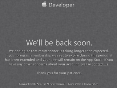 Appledevelopersitedown