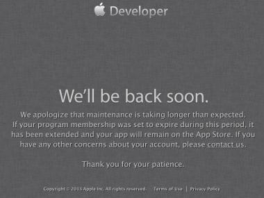 Appledevelopersitedown