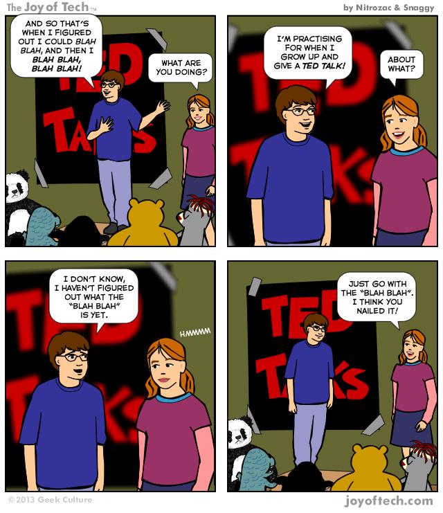 Talking TED Comic blah blah Nitrozac and Snaggy