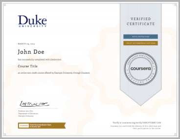 Coursera's current business model is selling verified certificates that students have completed its classes.
