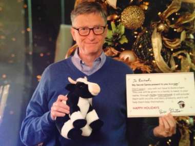 Bill Gates with stuffed cow