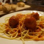 spaghetti and Johnsonville meatballs
