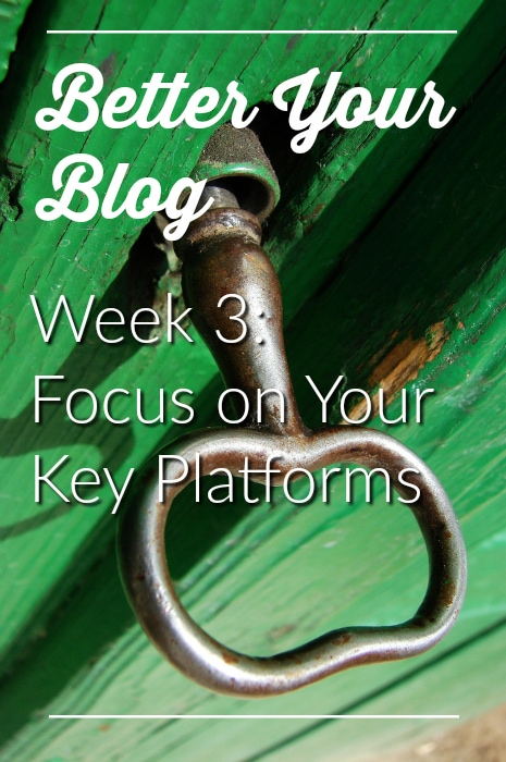 Better Your Blog Week 3 - Focus on Your Key Platforms