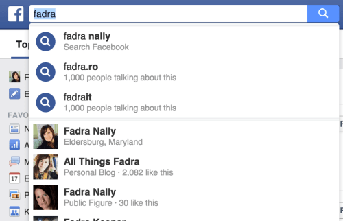 Fadra search on Facebook