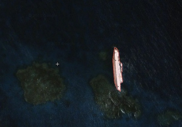 Top Ten Google Earth Discoveries : The S.S Jassim Wreckage