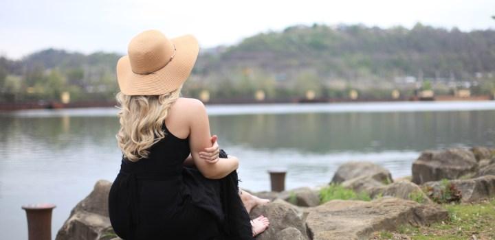 Unwinding Outdoors: Black Bamboo Dress