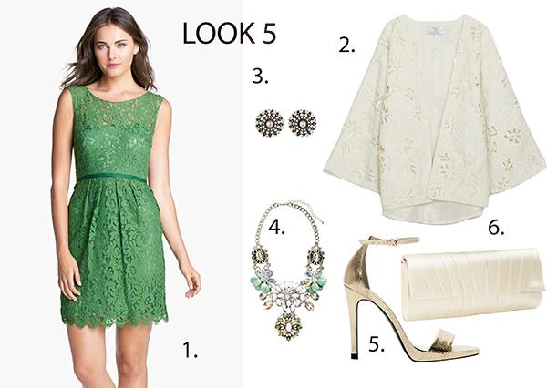 Vestido verde encaje boda